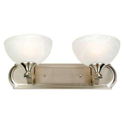 Glacier Point Collection 2-Light Satin Nickel Bathroom Vanity Light with Ivory Cloud Glass Shade
