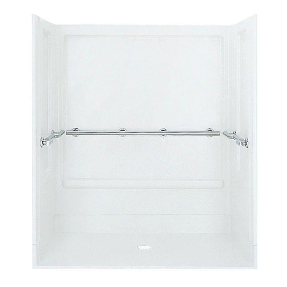 Roll-In 39-3/8 in. x 63-1/4 in. x 73-1/4 in. Shower Kit in White