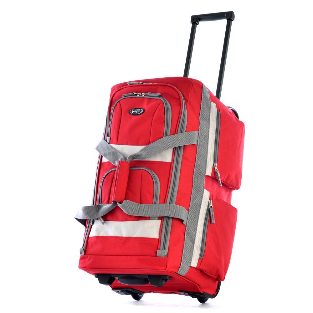 26 in. Red 8-Pocket Rolling Duffel
