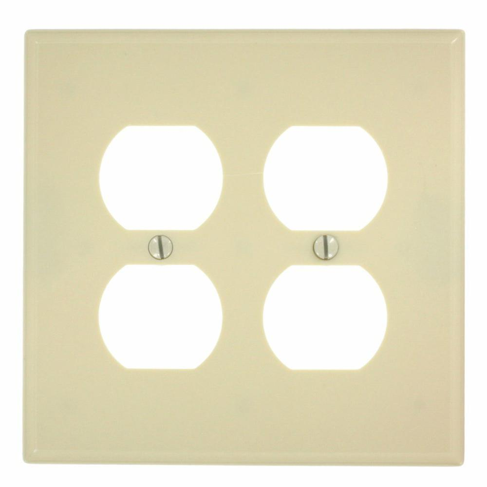 1-Gang Midway Size 2-Duplex Receptacles Plastic Wall Plate in Ivory