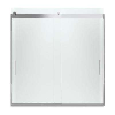 Levity 59 in. x 62 in. Semi-Frameless Sliding Tub Door in Silver with Handle