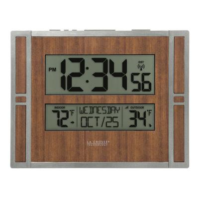Atomic Digital Wall Clock with Indoor & Outdoor Temperature