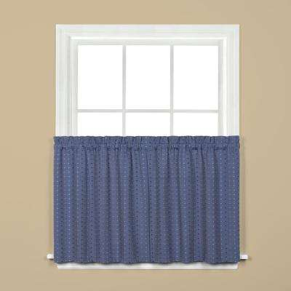 Hopscotch Denim Polyester Rod Pocket Tier Curtain - 57 in. W x 24 in. L