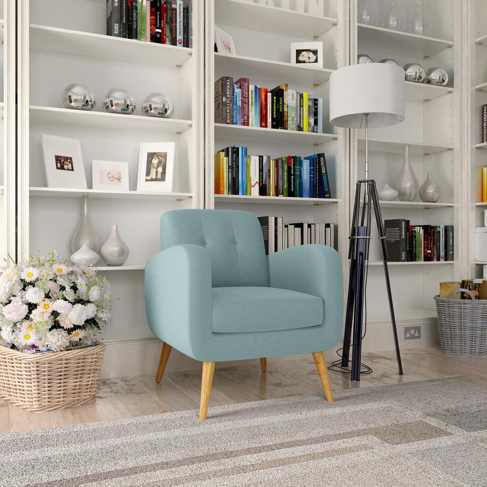 Handy Living Kingston Light Blue Textured Linen Mid Century ...