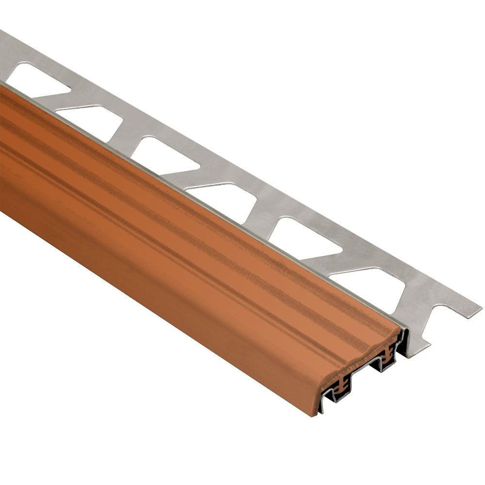 Schluter Trep-SE Stainless Steel with Nut Brown Insert 3/8 in. x 8 ft. 2-1/2 in. Metal Stair Nose Tile Edging Trim