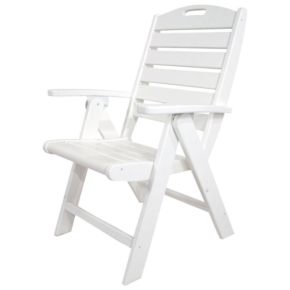 Yacht Club Classic White Highback Patio Folding Chair