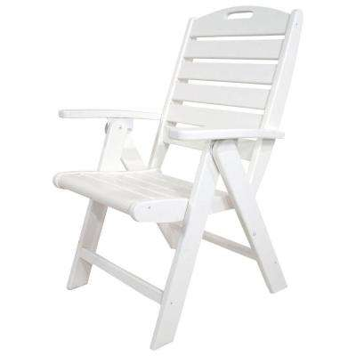 Yacht Club Clic White Highback Patio Folding Chair