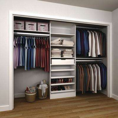 15 in. D x 120 in. W x 84 in. H Melamine Reach-In Closet System Kit in White