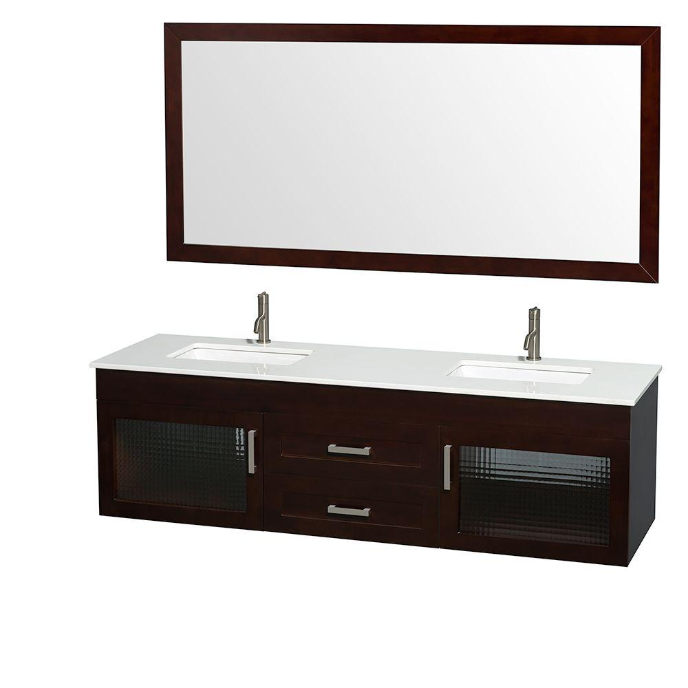 Wyndham Collection Manola 72 in. Double Vanity in Espresso with Glass Vanity Top in White, Undermount Square Sinks and 70 in. Mirror