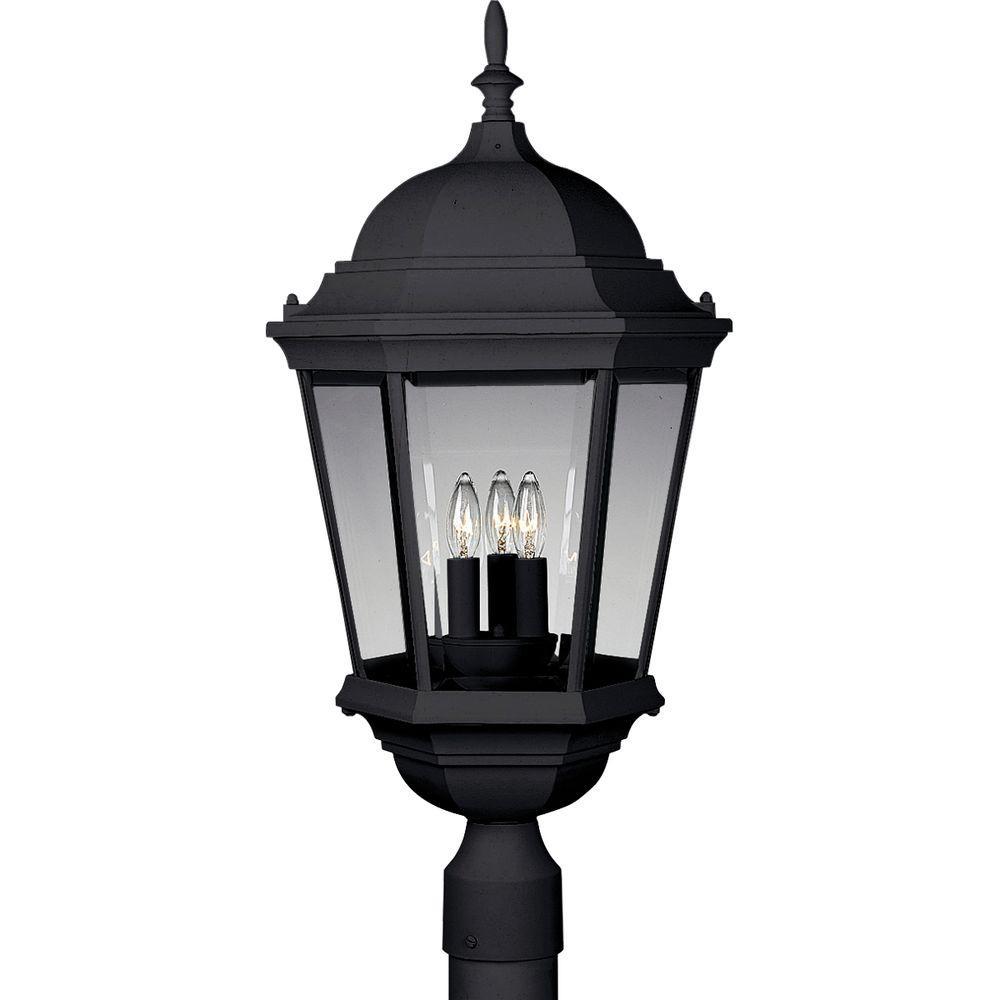 Welbourne Collection 3-Light Textured Black Outdoor Post Lantern