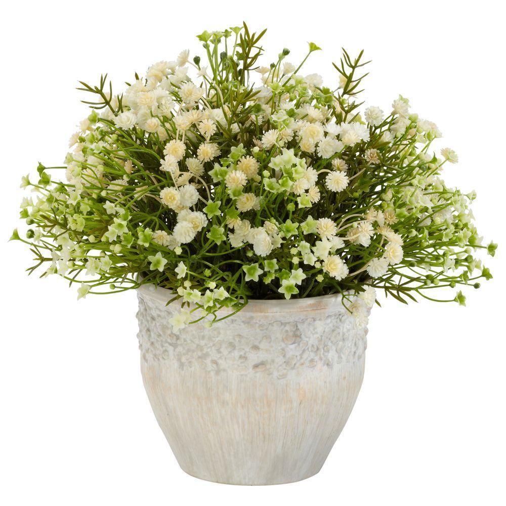 11 in. H Cream Mixed Mini Daisy Silk Plant (Indoor/Outdoor)