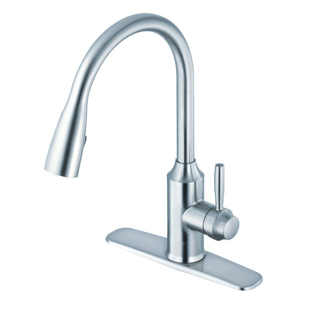 Glacier Bay Invee Single-Handle Pull-Down Sprayer Kitchen Faucet ...