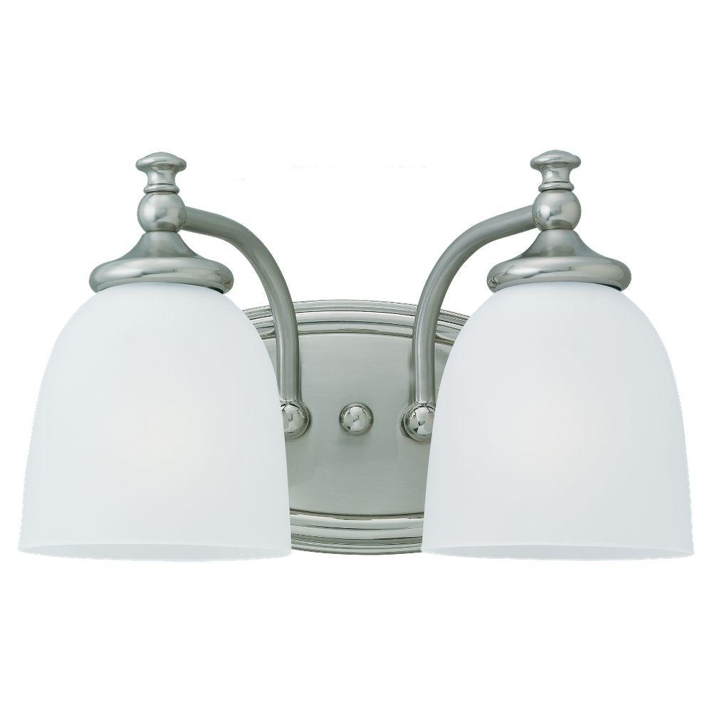 Sea Gull Lighting Colonnade 2-Light Two Tone Nickel Wall Bath Fixture-DISCONTINUED