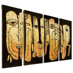 "undefined ""Totem poles"" Mixed Media Iron Hand Painted Dimensional Wall Decor"
