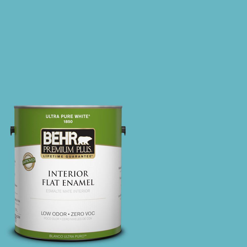 BEHR Premium Plus 1-gal. #520D-5 Tropical Tide Zero VOC Flat Enamel Interior Paint-DISCONTINUED