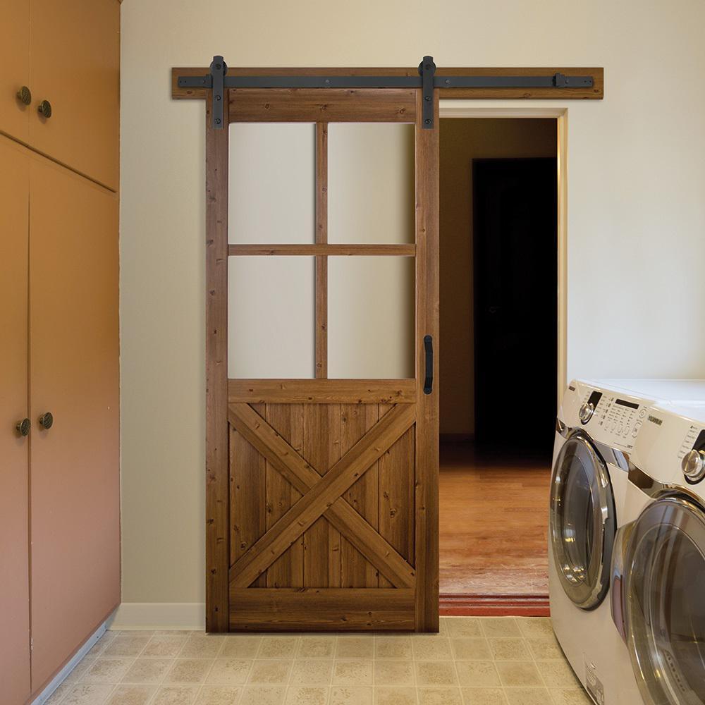 36 in. x 84 in. 4-Lite Crossbuck Nutmeg Interior Sliding Barn Door Slab with Hardware Kit