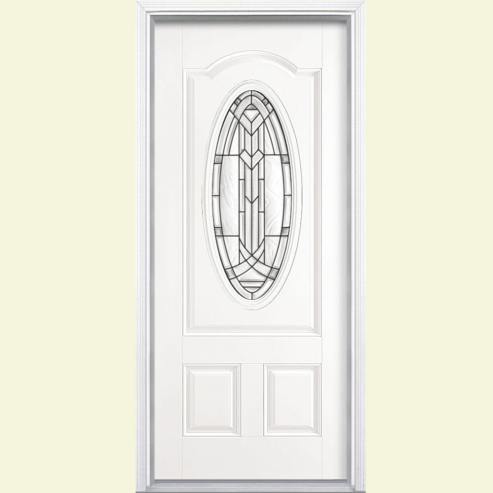 36 in. x 80 in. Chatham 3/4 Oval Primed White Left