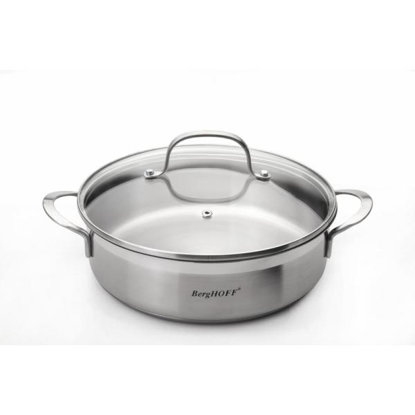 BergHOFF Bistro Stainless Steel 2.9 Qt. Deep Skillet with Glass Lid