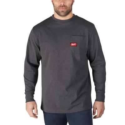 Men's Large Gray Heavy Duty Cotton/Polyester Long-Sleeve Pocket T-Shirt