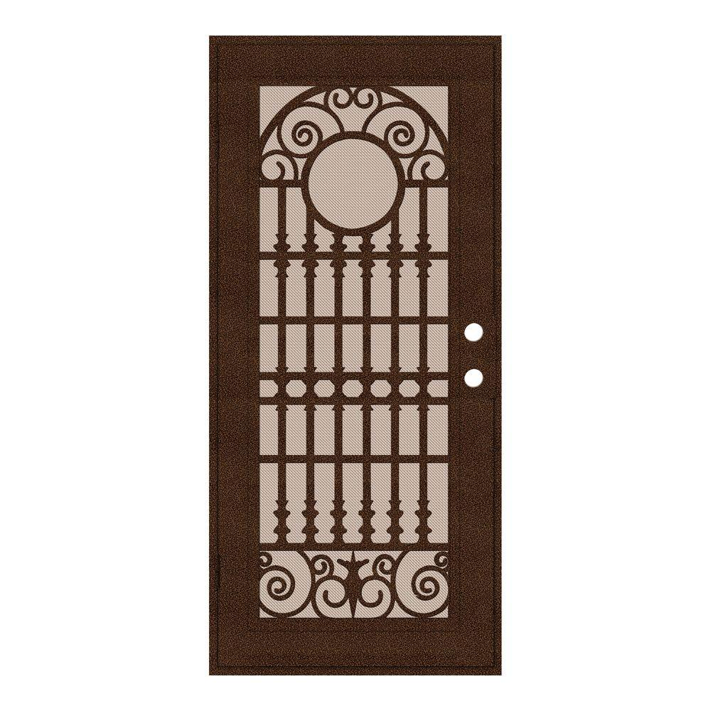 Unique Home Designs 36 in. x 80 in. Spaniard Copperclad Left-Hand Surface Mount Aluminum Security Door with Desert Sand Screen