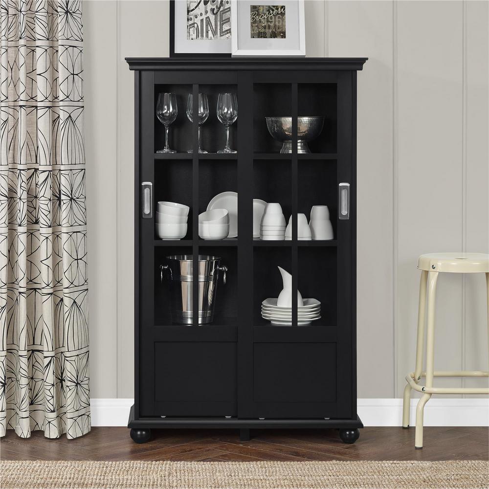 Altra Furniture Aaron Lane Black Glass Door Bookcase