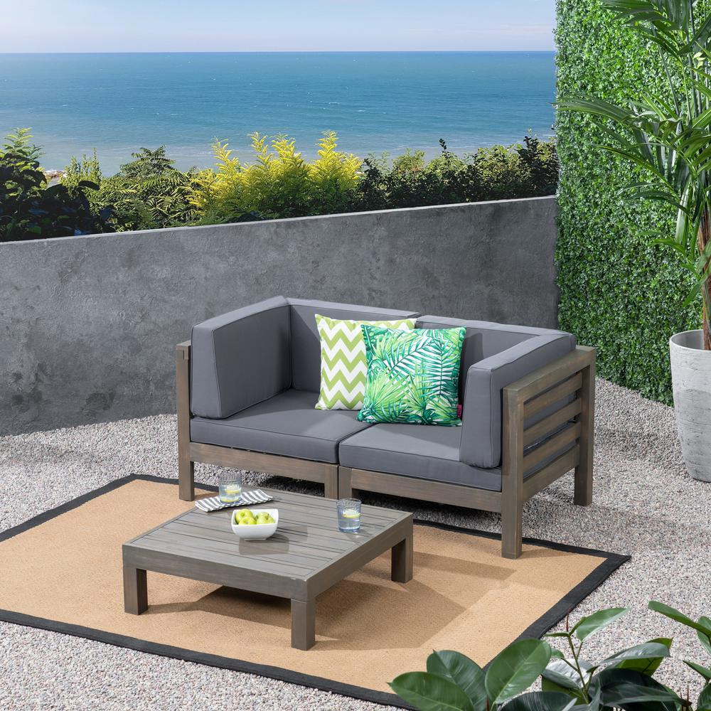 Noble House Jonah Gray 2-Piece Wood Patio Deep Seating Set with Dark Gray Cushions - Loveseat, Coffee Table