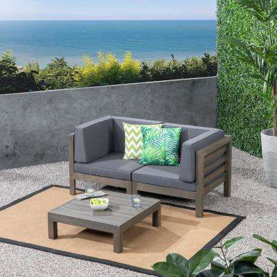 Jonah Gray 2-Piece Wood Patio Deep Seating Set with Dark Gray Cushions - Loveseat, Coffee Table