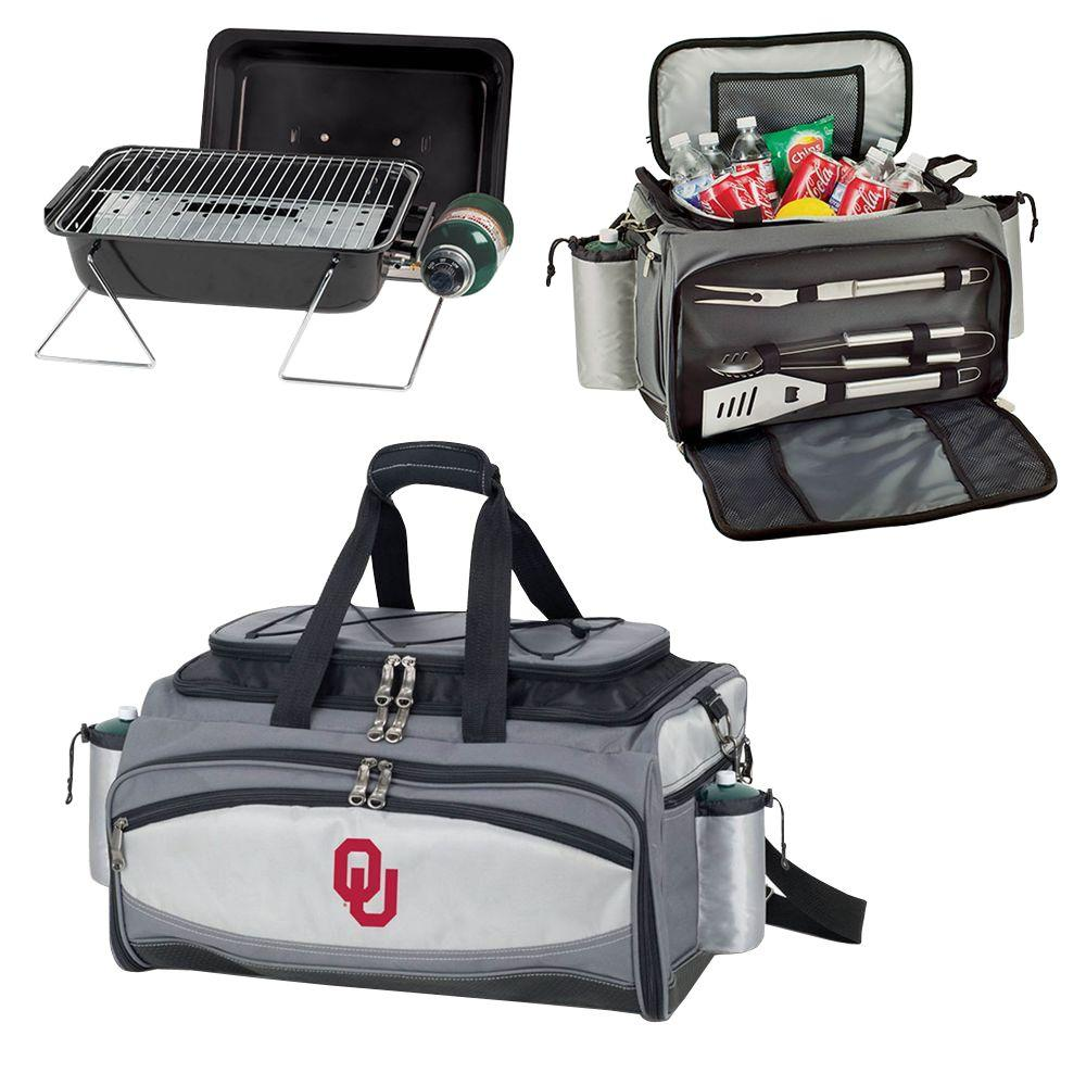 Picnic Time Oklahoma Sooners - Vulcan Portable Propane Grill and Cooler Tote by Digital Logo, Black/Gray