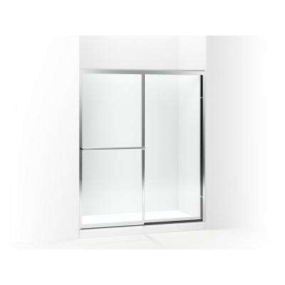 Prevail 59-3/8 in. x 70-1/4 in. Framed Sliding Shower Door in Silver with Handle