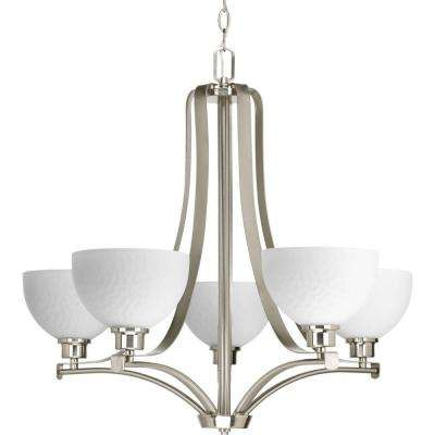 Legend Collection 5-Light Brushed Nickel Chandelier with Shade with Sculpted Glass Shade