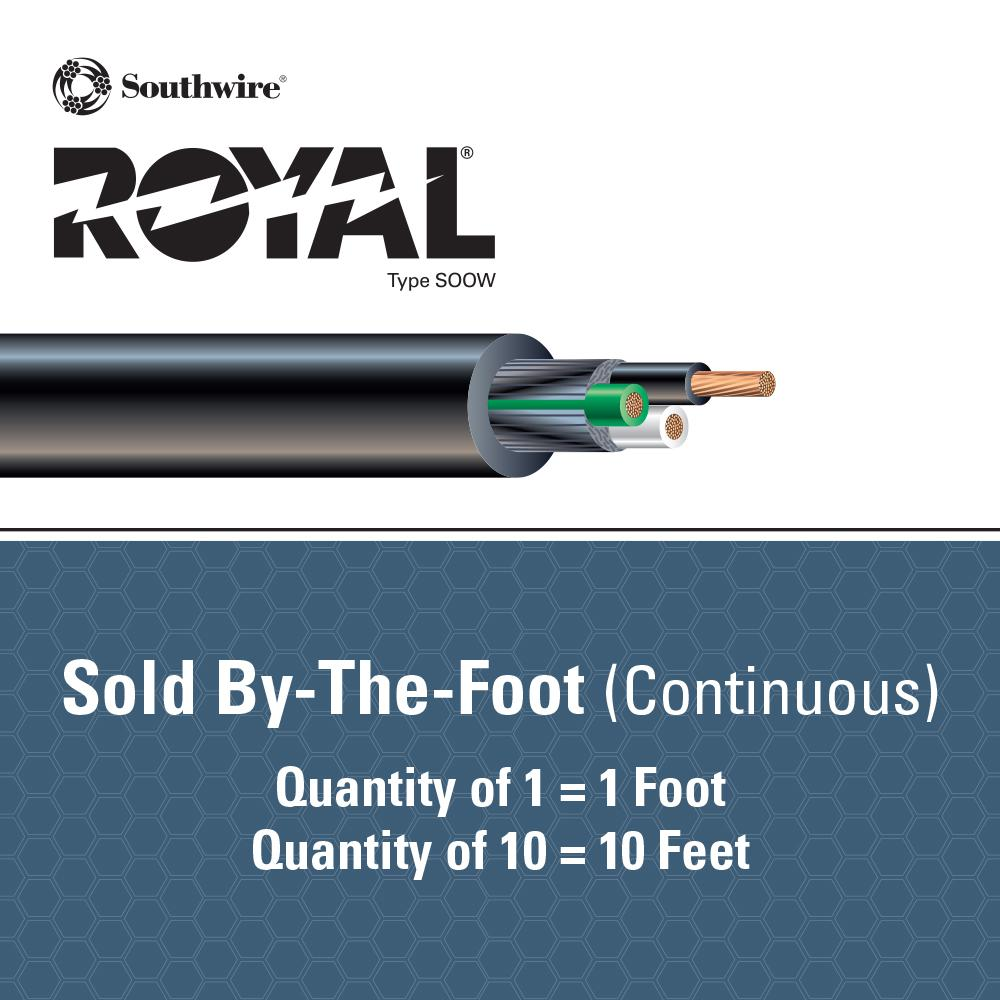 Southwire By The Foot 10 3 600 Volt Cu Black Flexible Portable Power Soow Cord 55809799 The Home Depot