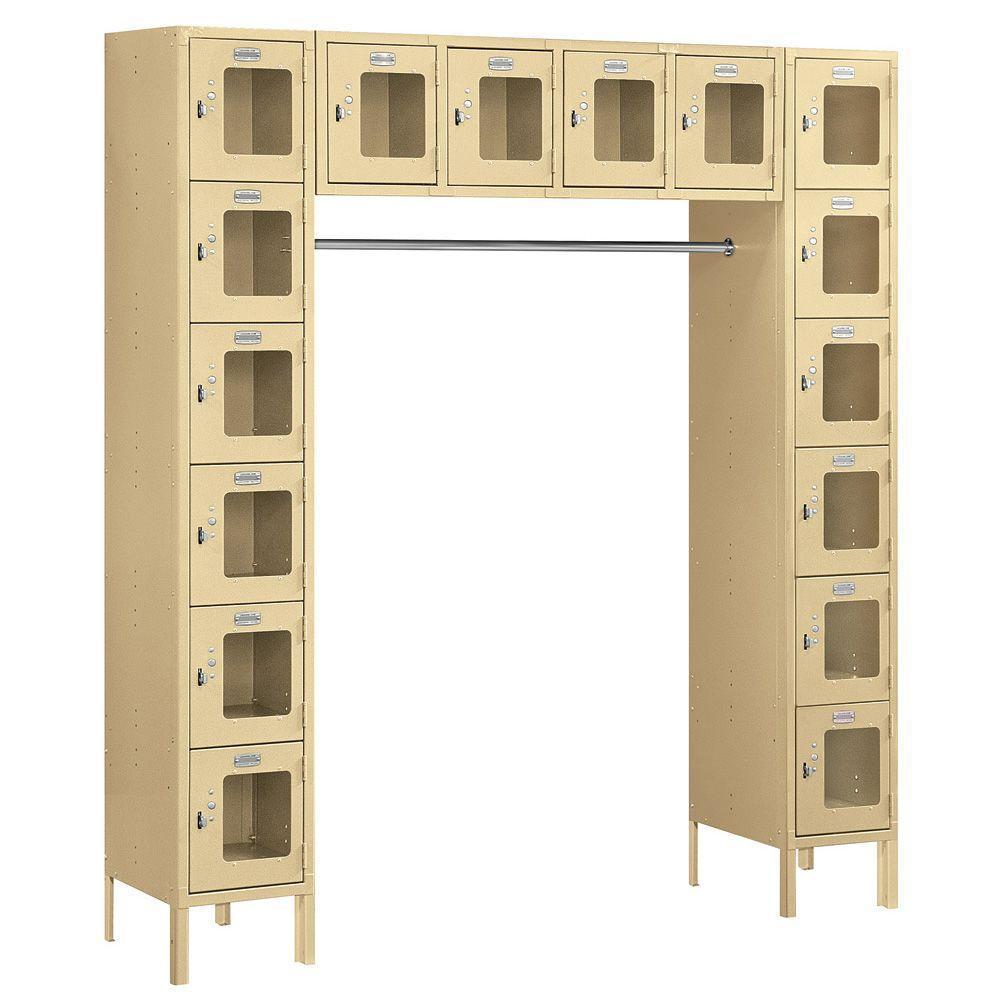 Salsbury Industries S-66016 Series 72 in. W x 78 in. H x 18 in. D 6-Tier Box Style Bridge See-Through Metal Locker Assembled in Tan