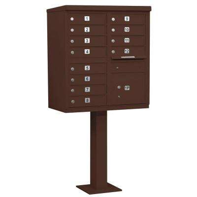 Bronze USPS Access Cluster Box Unit with 12 A Size Doors and Pedestal