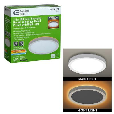 7.5 in. White Selectable LED Flush Mount Round Flat Panel with Night Light Feature 800 Lumens 3 Mount Options