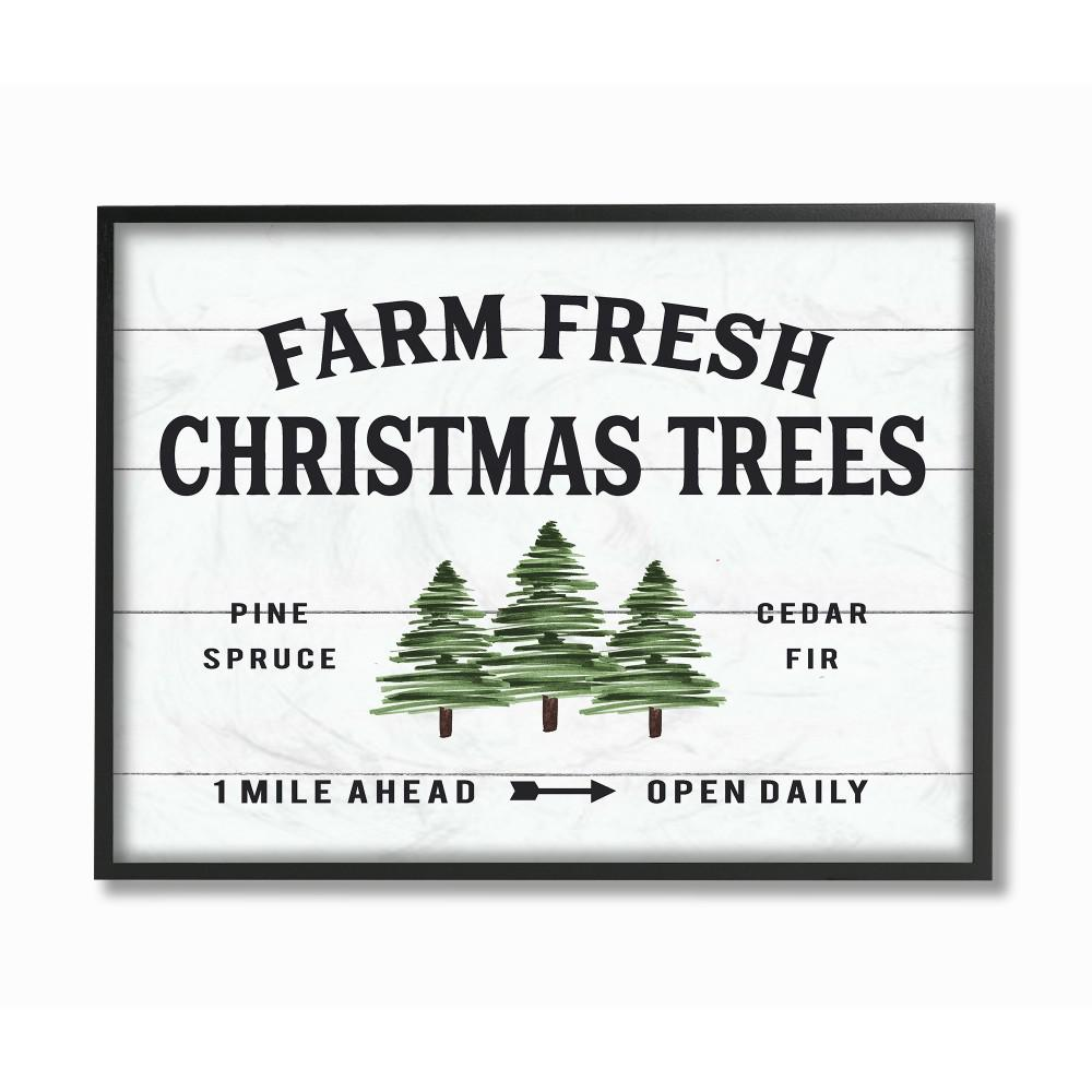 Farm Fresh Christmas Trees.11 In X 14 In White Holiday Farm Fresh Christmas Trees Spruce And Fir By Artist Lettered And Lined Framed Wall Art