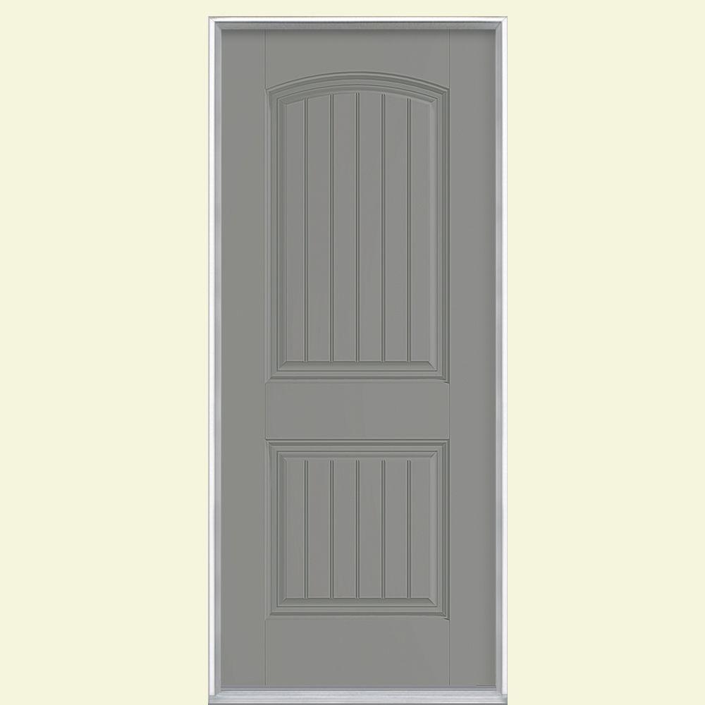 32 in. x 80 in. Cheyenne 2-Panel Left Hand Inswing Painted Smooth Fiberglass Prehung Front Door No Brickmold