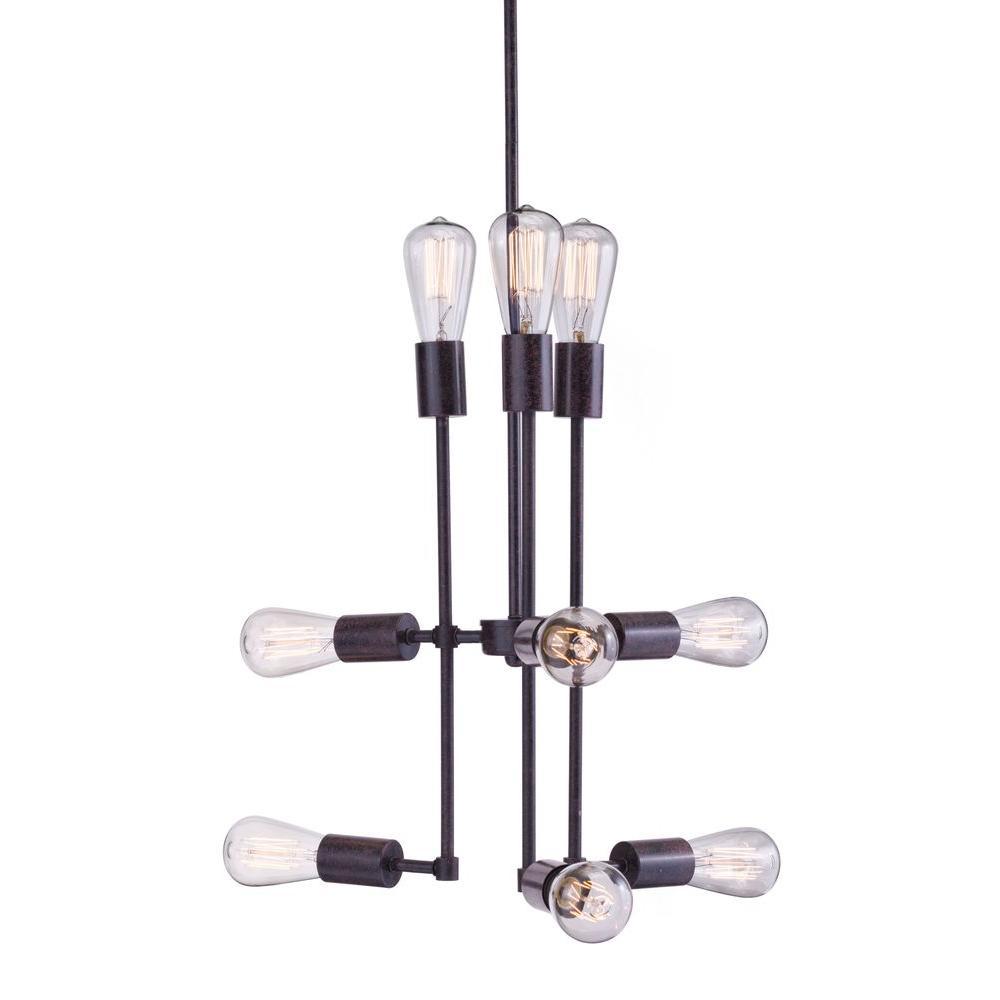 Timaru 9-Light Rust Ceiling Lamp