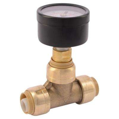 1/2 in. Brass Push-to-Connect Tee with Water Pressure Gauge