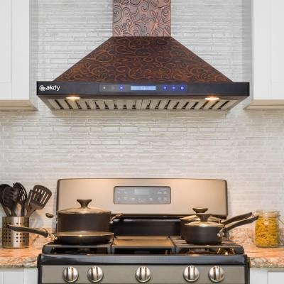 30 in. Convertible Island Mount in Embossed Copper Vine Design Kitchen Range Hood with Lights