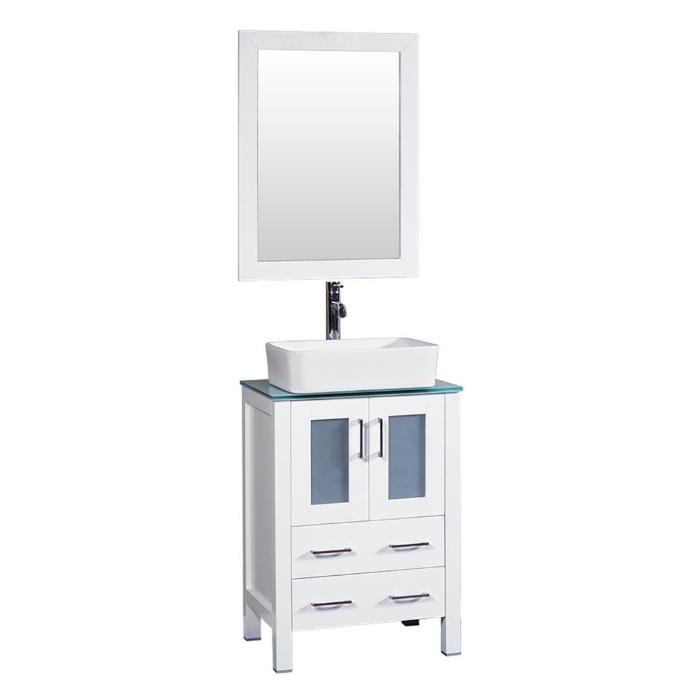 24 in. W Single Bath Vanity in White with Tempered Glass