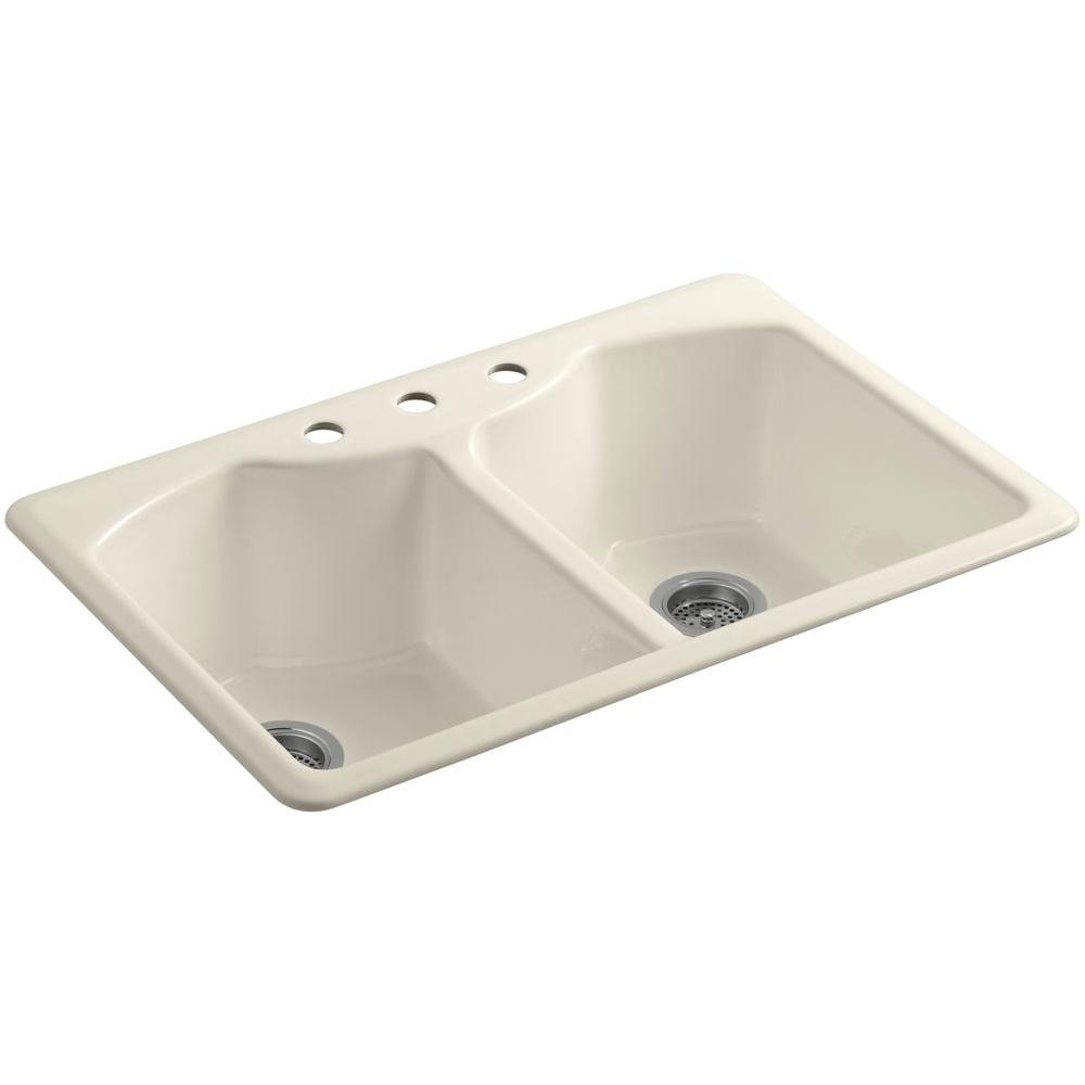 KOHLER Bellegrove Drop-In Cast-Iron 33 in. 3-Hole Double Basin Kitchen Sink with Accessories in Almond