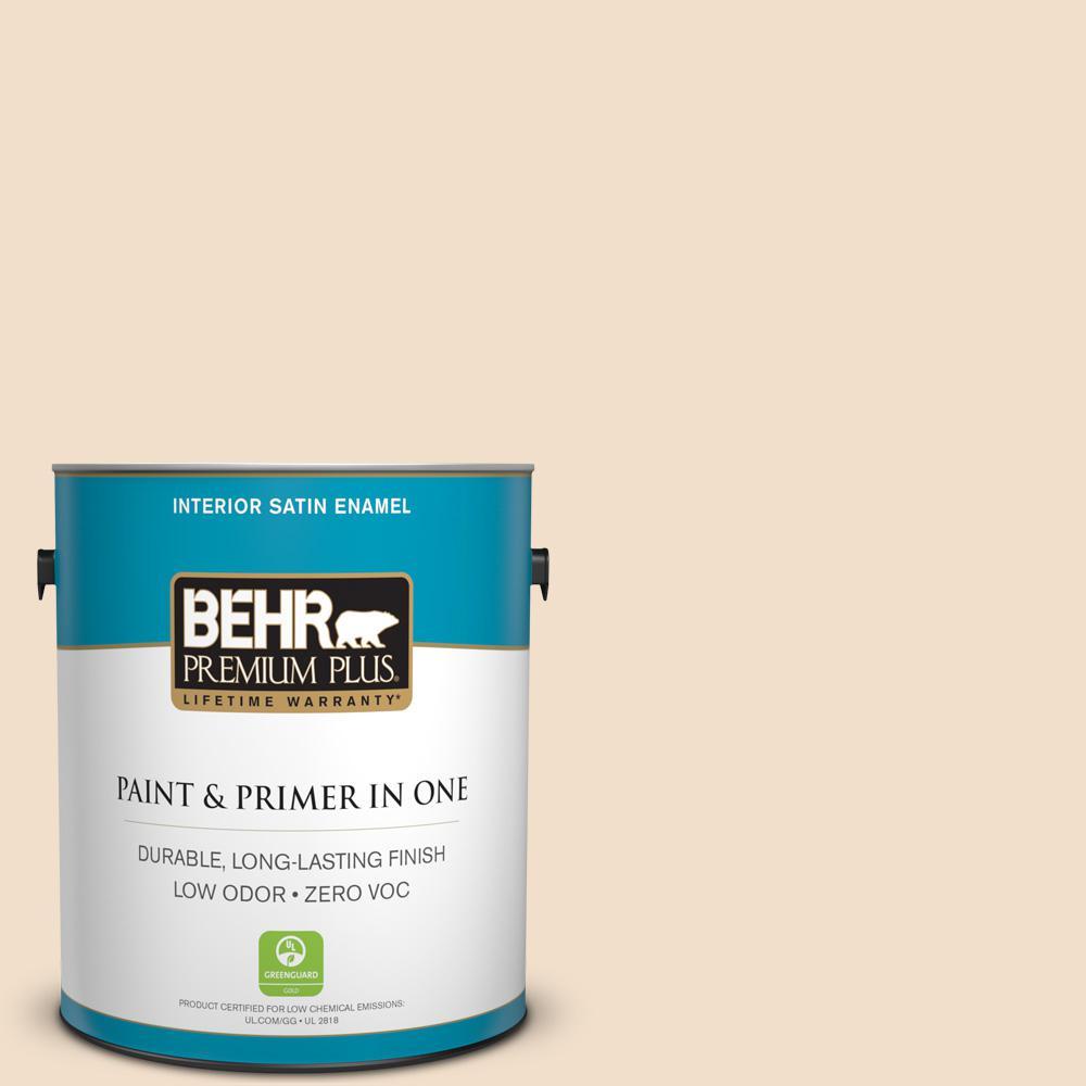 BEHR Premium Plus 1-gal. #S250-1 Macaroon Cream Satin Enamel Interior Paint