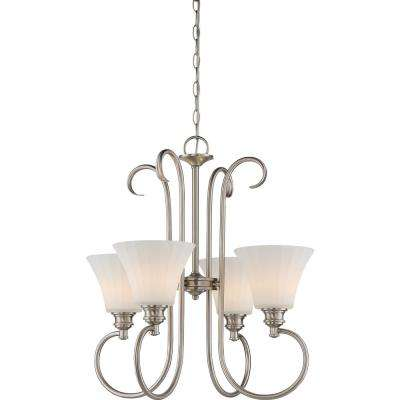 4-Light Nickel Chandelier with Frosted Ribbed Glass Shade