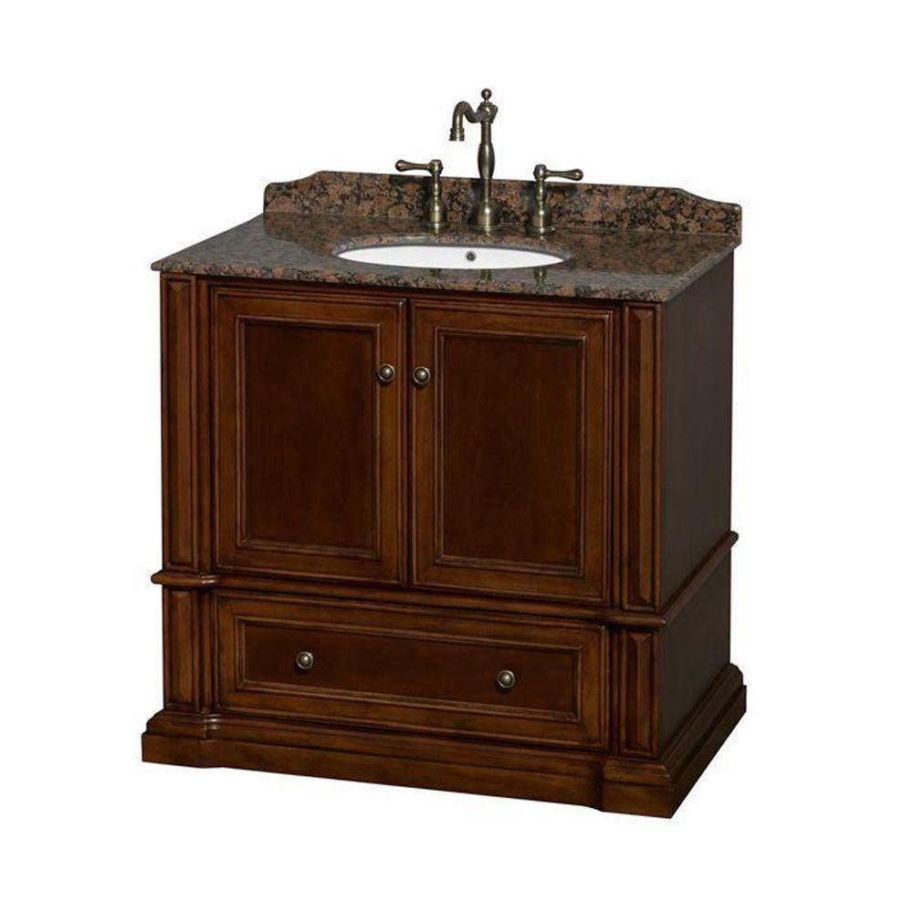 Wyndham Collection Rochester 37.5 in. Vanity in Cherry with Granite Vanity Top in Baltic Brown and Oval Sink