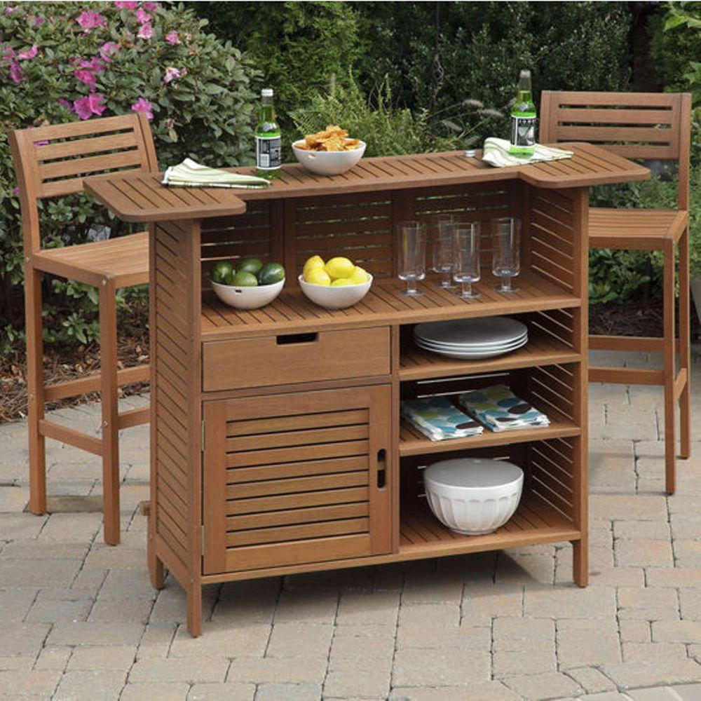 Home Styles Montego Bay 3-Piece Patio Bar Set with 2 Stools