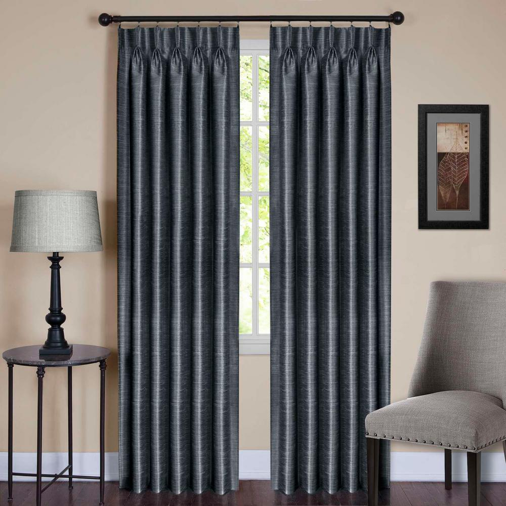 Slate Pinch Pleat Window Curtain Panel
