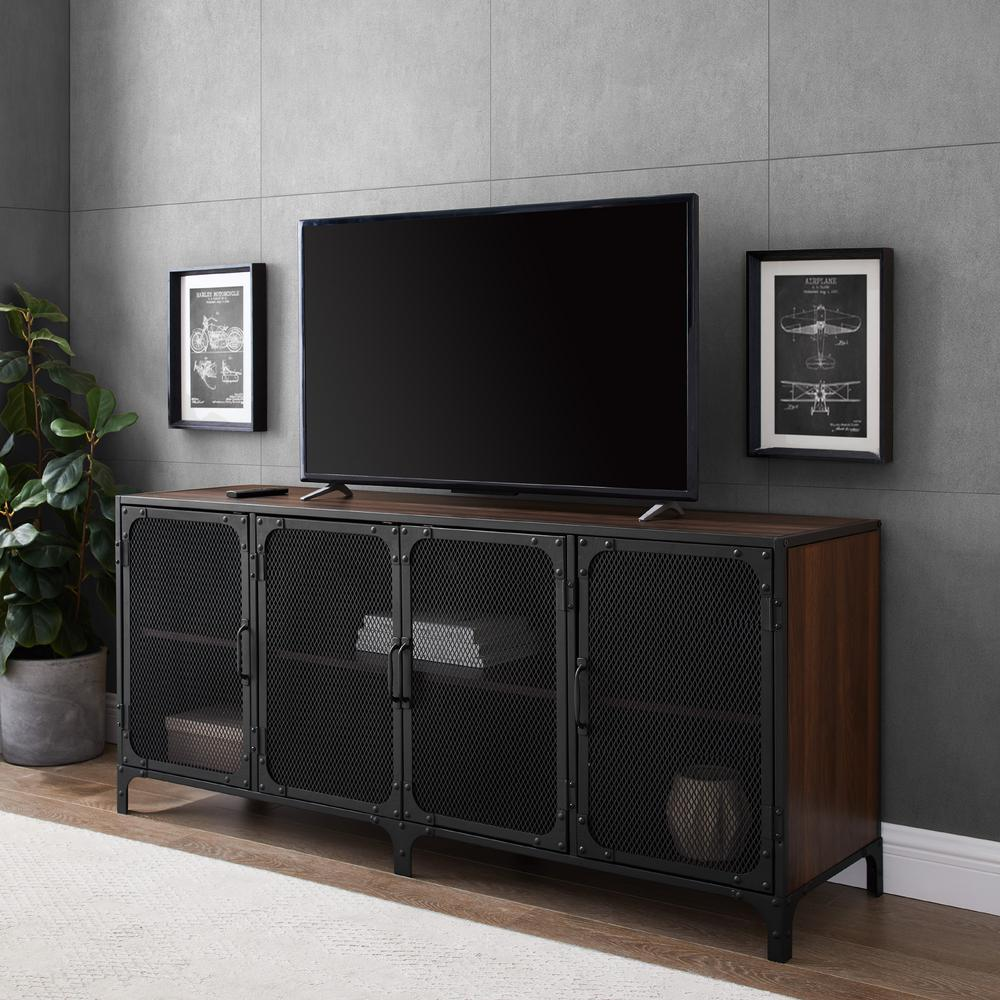 60 in. Dark Walnut Composite TV Stand Fits TVs Up to 66 in. with Storage Doors