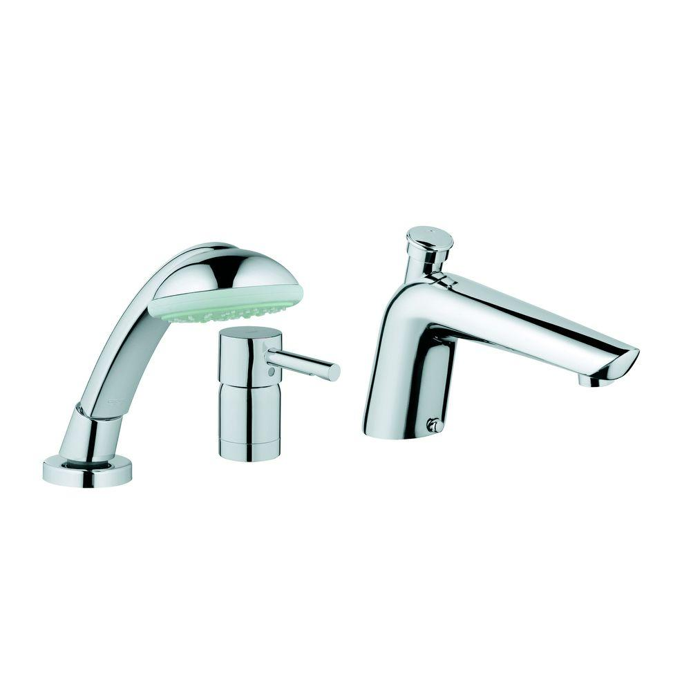 GROHE Essence Single-Handle Non-Deckplate Mount Roman Tub Faucet with Hand Shower in StarLight Chrome