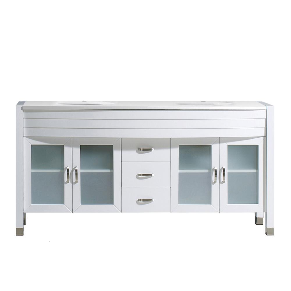 Virtu USA Ava 62.99 inch W x 21.65 inch D x 33.46 inch H White Vanity With Stone Vanity... by Virtu USA