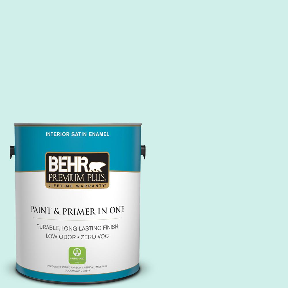 BEHR Premium Plus 1-gal. #490A-1 Teal Ice Zero VOC Satin Enamel Interior Paint